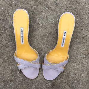 🍒Manolo Blahnik Scalloped Lavender Sandals 11